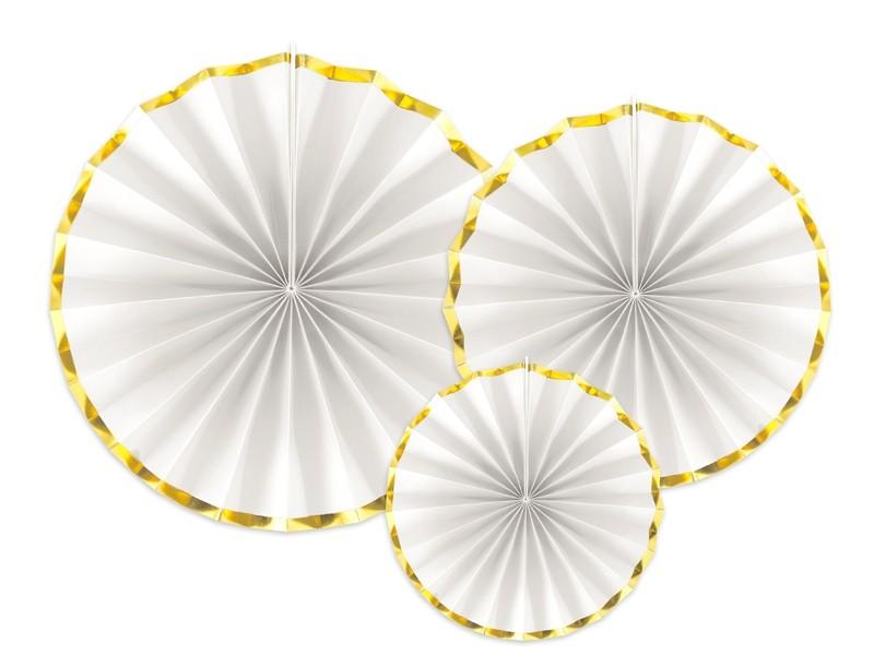 3 rosaces blanches bordures dorées