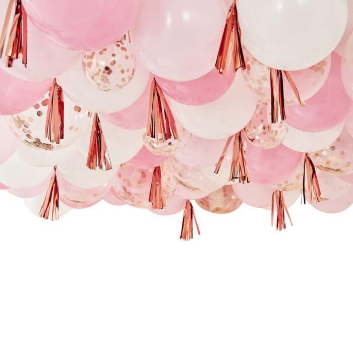 Kit de Ballons Rose Gold et Tassels pour Plafond