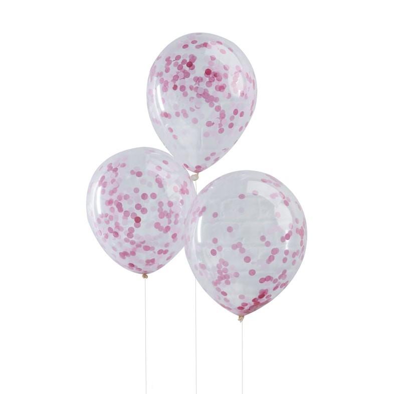 5 ballons avec confettis roses