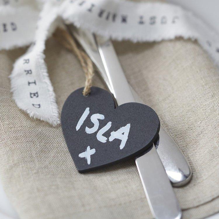 6 marque-places petits coeur ardoise