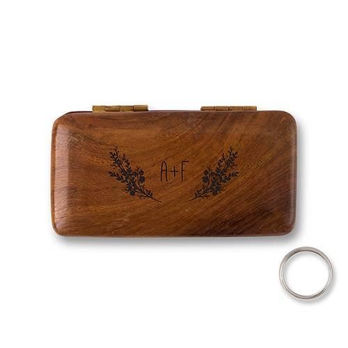Boite à alliances en bois motif lavande personnalisée