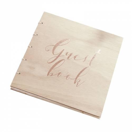 Livre d\'Or Bois Guest book Rose gold