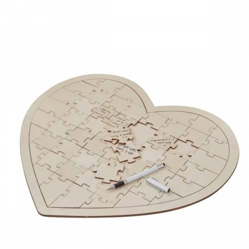 Livre d\'Or Coeur grand puzzle en bois