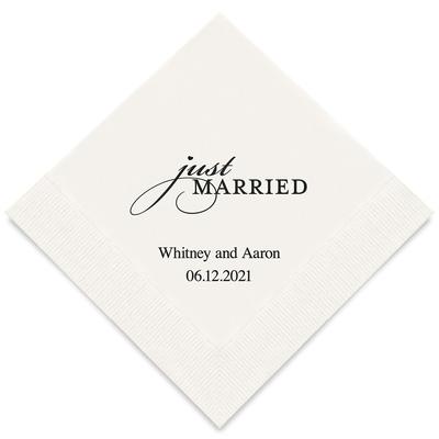 50 Serviettes personnalisées Just Married