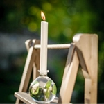 Vase boule en verre avec bougie