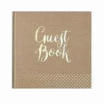 Livre d'Or Guest Book en kraft et pois gold2