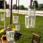 2 Petites Lanternes blanches avec support mariage