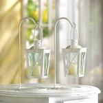 2 Petites Lanternes blanches avec support