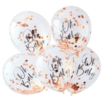 5 ballons Oh Baby rose gold