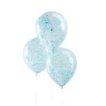 5 ballons avec confettis bleus