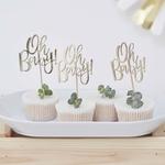 12 Pics cupcake Oh Baby doré2 - Copie