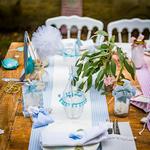 Chemin table lin rayé bleu3
