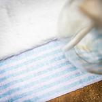 Chemin table lin rayé bleu2
