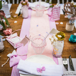 Chemin table lin rayé rose2