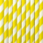 10 Pailles en papier rayées jaune 2