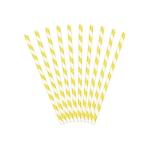 10 Pailles en papier rayées jaune
