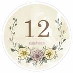12 numéros de table carton Rond Filigrane Fleuri personnalisés1