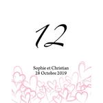12 numéros de table carton Dessins de coeurs personnalisables2
