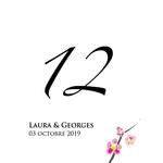 12 numéros de table carton fleur de cerisier personnalisables2