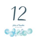 12 numéros de table carton Spirales bleues personnalisables3