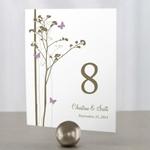 Lot de 12 numéros de table Motif floral et papillons personnalisables