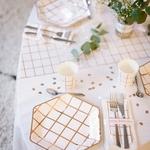 8 assiettes blanche à carreaux Rose Gold3