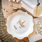 assiettes-blanches-licorne-dorée