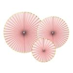 3-rosaces-papier-rose-bordure-dorée