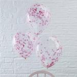 5 ballons- transparents -micro-confettis-rose