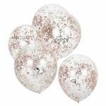 5 ballons- transparents -micro-confettis-rose-gold