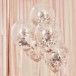 5 ballons- transparents -micro-confettis-rosegold