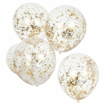 5 ballons- transparents -micro-confettis-gold