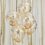 5 ballons- transparents -micro-confettis-dorés