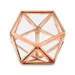 Boite à alliances hexagonale cuivre sur fond blanc