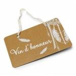 Pancarte %22 Vin d'honneur %22 Boho 25 x 15.5 cm