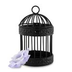 Petite cage à oiseau noire sur fond blanc