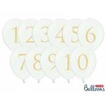 Ballons pour numéro de table sur fond blanc