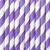 10 pailles papier rayées Lilas