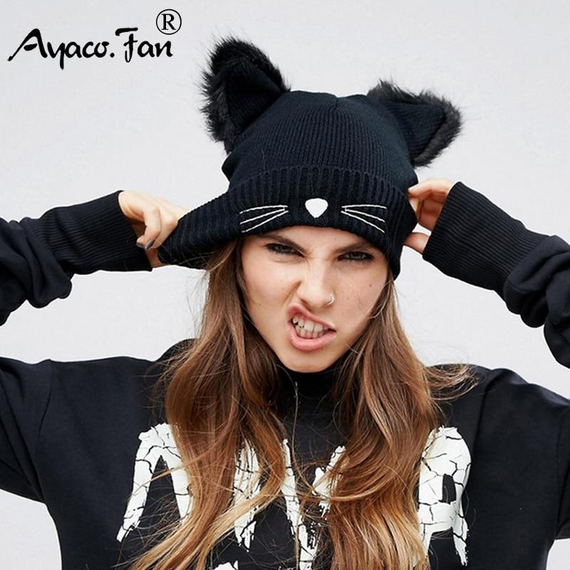 Bonnet-tricot-en-acrylique-avec-oreilles-de-chat-Joli-chapeau-pour-femmes-bonnet-chaud-hiver-capuchons
