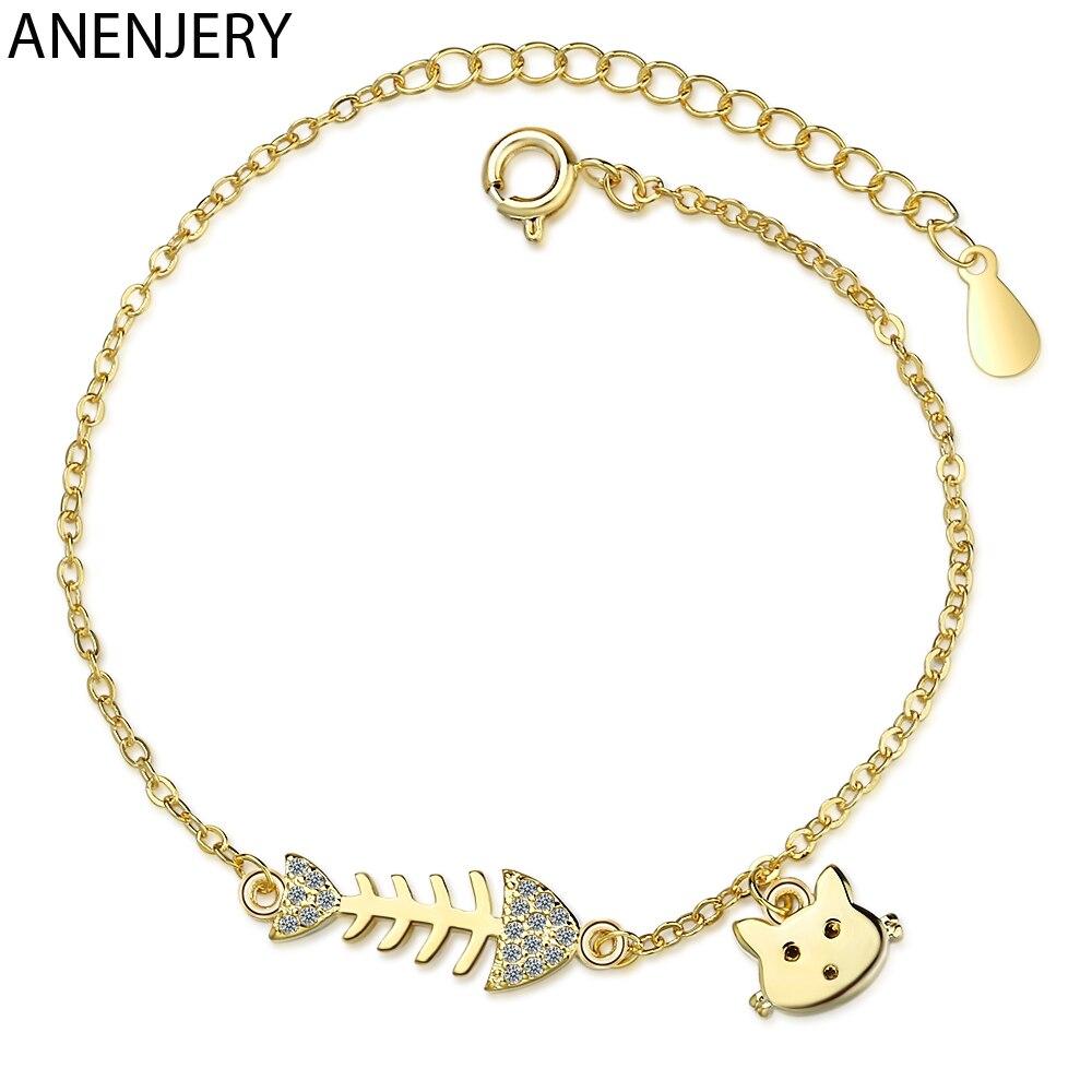 ANENJERY-mode-mignon-chat-ar-te-de-poisson-lien-cha-ne-Bracelet-couleur-argent-Animal-cubique
