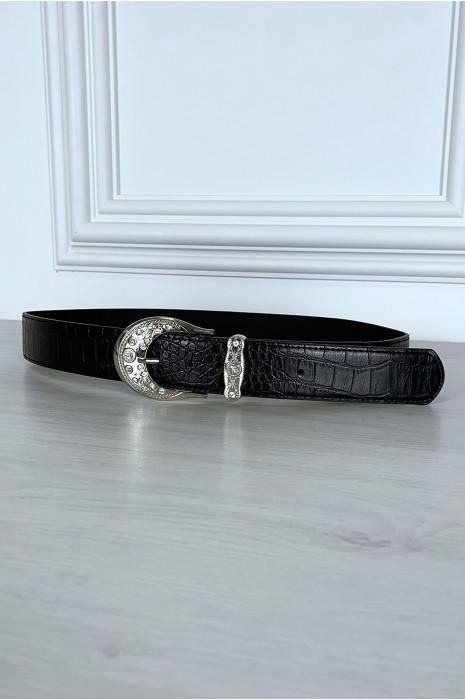 ceinture-noire-effet-reptile-a-boucle-brillante (2)