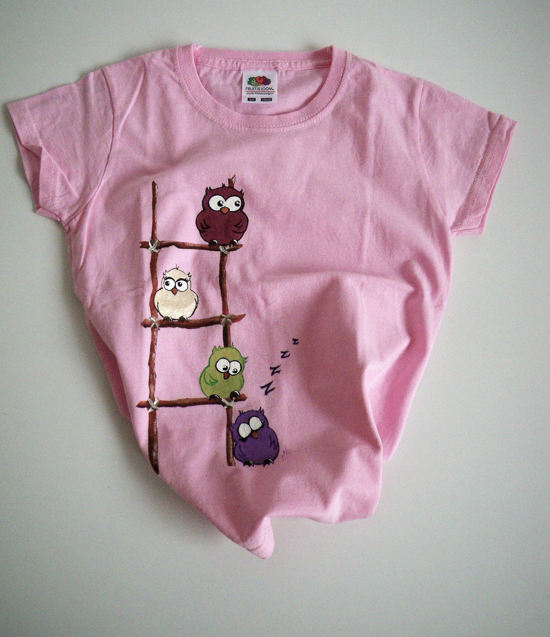 T-shirt coton chouettes peint à la main pour les enfants