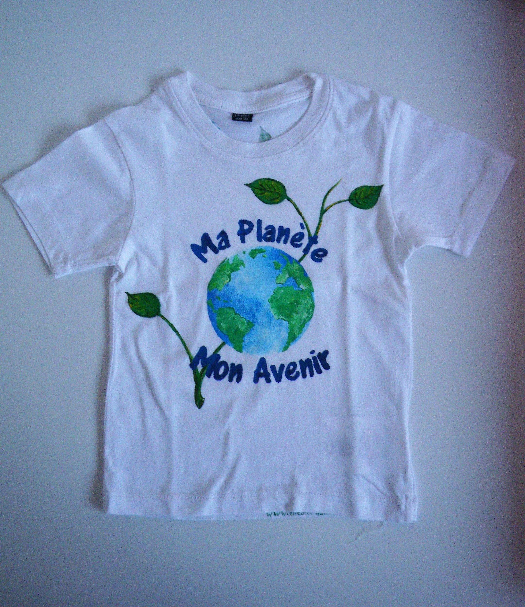 T-shirt enfant écolo peint à la main en coton