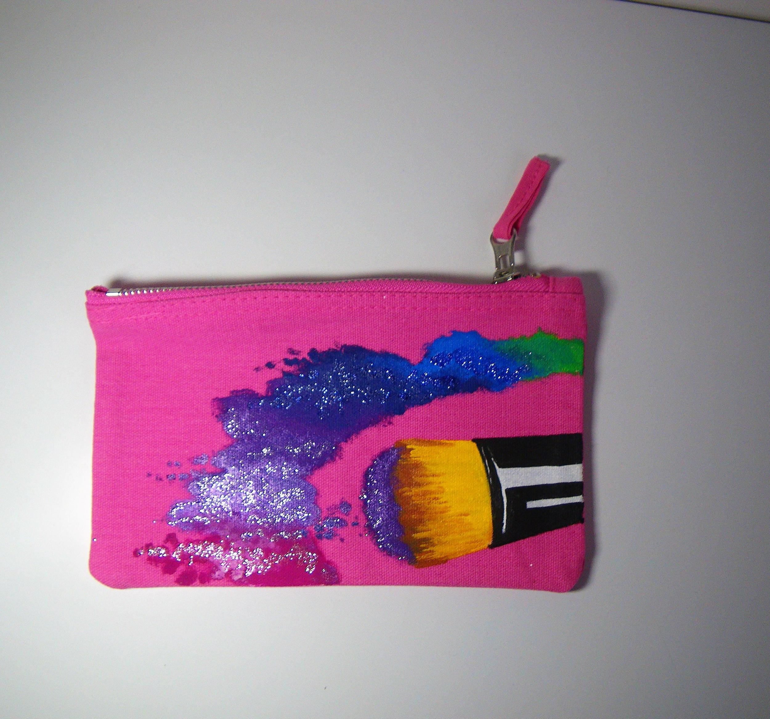 Trousse zippée en coton rose peinte à la main pour femme