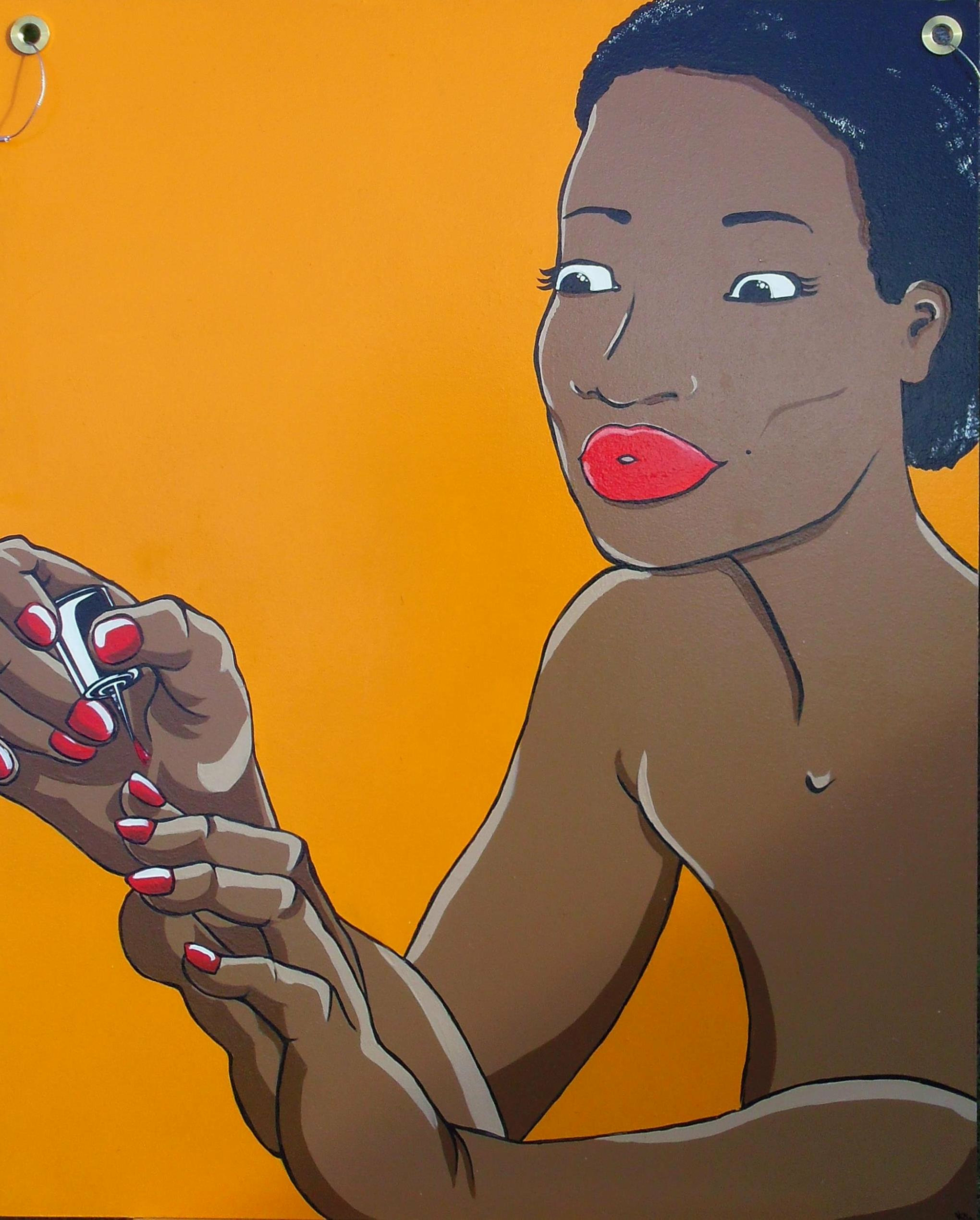 Tableau femme noire grand format sur bois peint à la main à l\'acrylique
