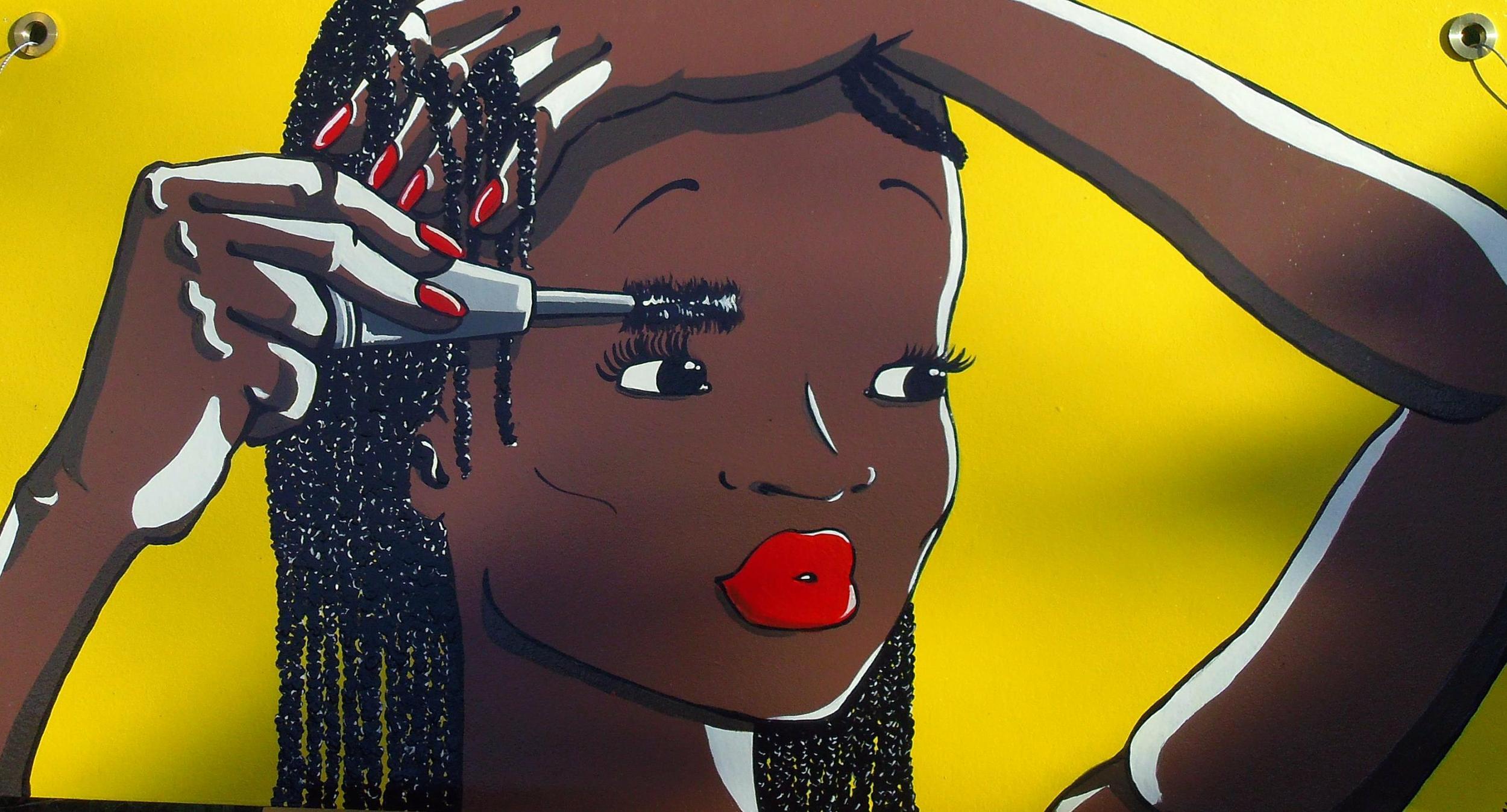 Tableau grand format femme noire sur bois peint à la main