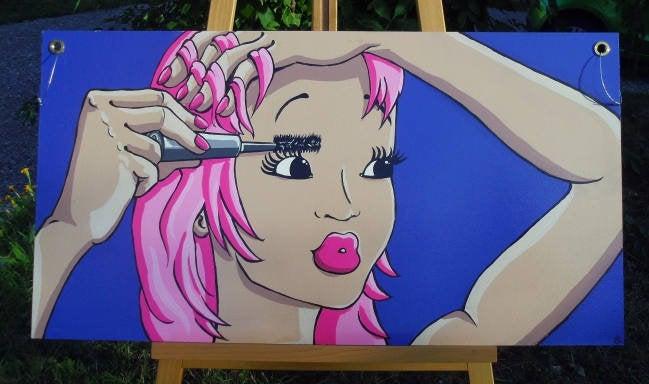 Tableau femme grand format sur bois peint à la main à l\'acrylique