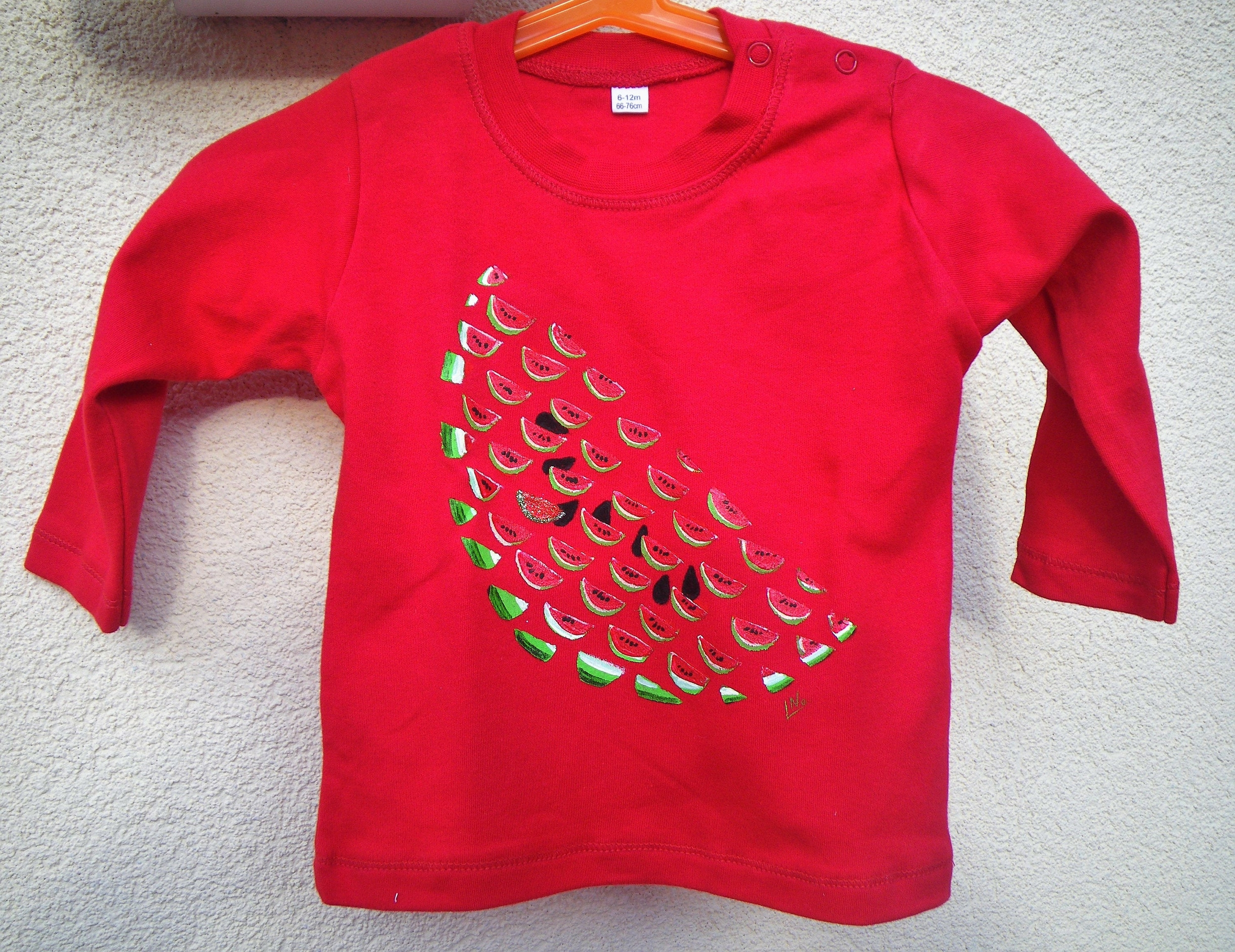 T-shirt bb manches longues en coton peint à la main