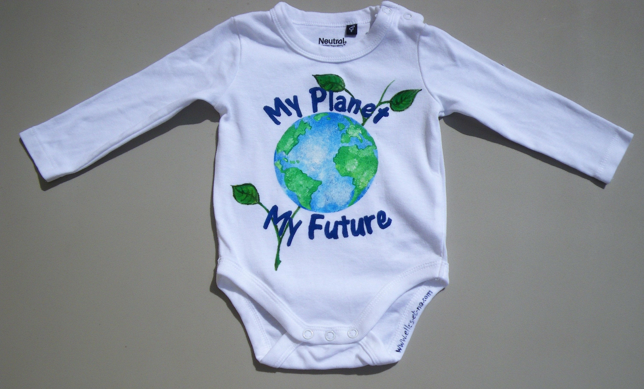 Body bébé écolo en coton bio peint à la main