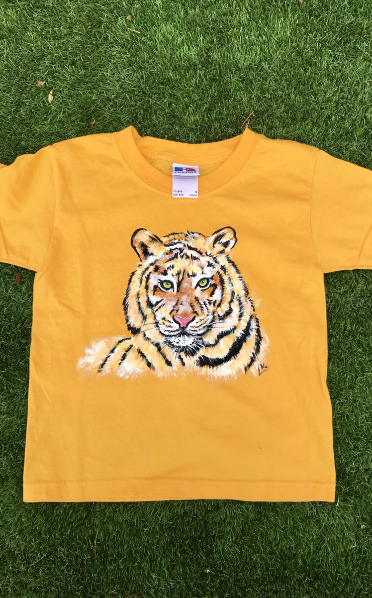 Tee-shirt enfant tigre peint à la main en coton